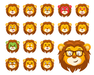 Cute Lion Face Emoticon Emoji Expression Illustration