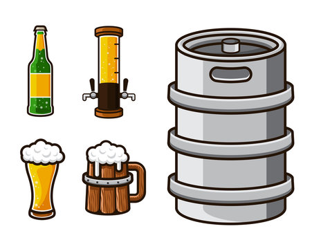 Modern Beer Graphic Asset Illustration Set
