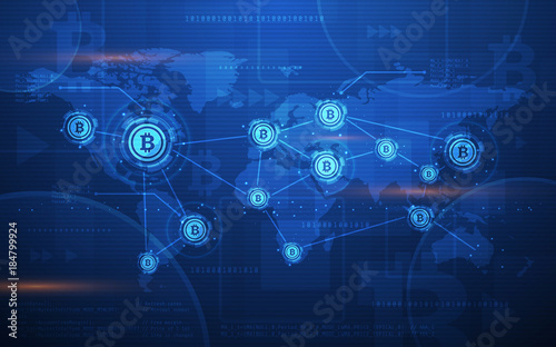 Global Abstract Bitcoin Crypto Currency Blockchain Technology World Map Background Ultra HD Wallpaper Illustration