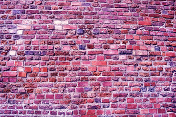 Old brick wall, Ultra Violet color toned image