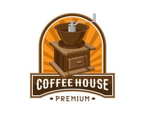 Vintage Premium Coffee Shop Badge Logo Illustration