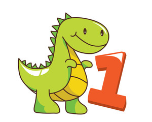 Colorful Cute Baby Tyrannosaurus Dinosaur Illustration With Number, Suitable For Education, Birthday Invitation, Mascot, Event, Baby Clothing, and Other Children Related Occasion