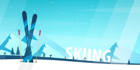 Poster Turquoise Winter Sport. Ski and Snowboard. Mountain landscape. Sportsman ski slope down. Vector illustration.