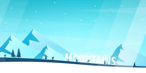 Winter Sport. Ski and Snowboard. Mountain landscape. Vector illustration.