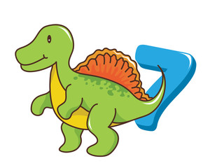 Colorful Cute Baby Spinosaurus Dinosaur Illustration With Number, Suitable For Education, Birthday Invitation, Mascot, Event, Baby Clothing, and Other Children Related Occasion