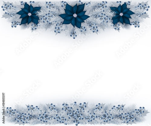 Christmas Garland With Silver Color Fir Branches Blueberries And
