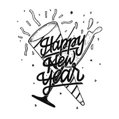 Happy New Year Hand Drawing Typography And Doodle Illustration