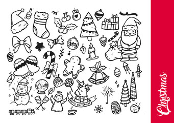 Creative Hand Drawing Christmas Theme Doodle Illustration
