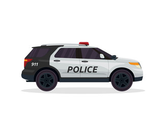 Modern Urban Police Patrol Vehicle Illustration