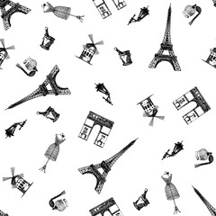 Hand drawn sketch style seamless pattern of France themed objects. Vector illustration.