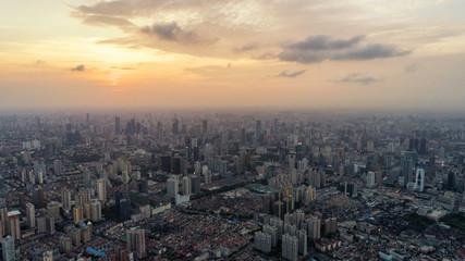Shanghai skyline view at sunset