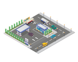 Isolated Isometric Gas Station Illustration, Suitable For Icon, Map, Clip Art, and Game Asset