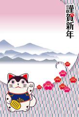 年賀状素材 縦型|招き犬(招き猫)と変わり市松模様の和風背景のデザイン|犬張子(狛犬)