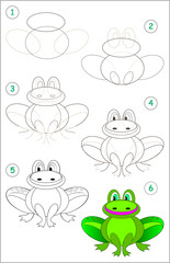 Page shows how to learn step by step to draw a funny frog. Developing children skills for drawing and coloring. Vector image.