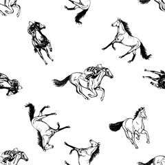 Seamless pattern of hand drawn sketch style horses and jockeys on horses. Vector illustration isolated on white background.