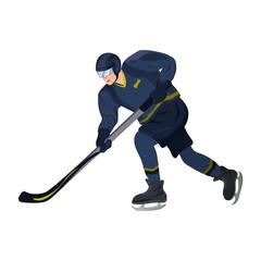 Winter sport. Hockey player.  Vector illustration