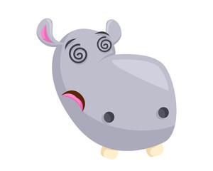 Cute Hippo Face Emoticon Emoji Expression Illustration - Dizzy