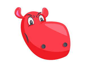 Cute Hippo Face Emoticon Emoji Expression Illustration - Angry