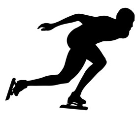 vector illustration athlete speed skater black silhouette