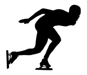 man athlete speed skater ice skating black silhouette