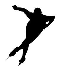 black silhouette athlete speed skater turn ice rink