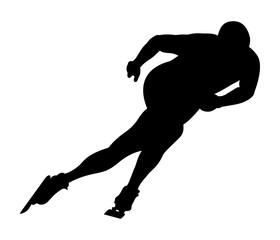 black silhouette athlete speed skater vector illustration