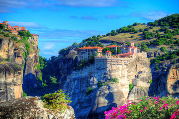 Beautiful landscape of Meteora with religious monastery in summer holiday, Greece - Europe