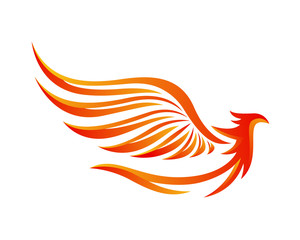 Modern Flaming Phoenix Illustration Symbol
