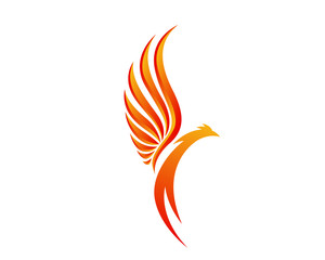 Modern Flaming Phoenix Illustration Symbol