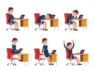 Businesswoman character in cartoon style dressed in suit is working on laptop. The office worker sits at the desk. A woman at the workplace sits, sleeps, bores, rejoices.