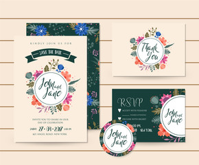 Modern Save The Date Floral Wedding Invitation Card Template Illustration Set, RSVP, Pin and Thank You Card Included.