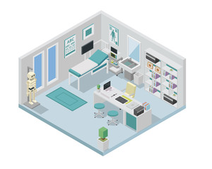 Modern creative doctor clinic office space interior design in isometric view