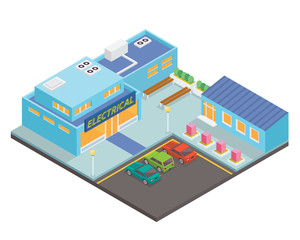 Modern Isometric Electrical Store Commercial Building Illustration