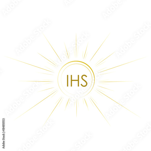 Gold And Simple Symbol Of Jesus Christ Body Holy Communion Stock