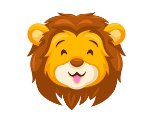 Cute Happy Lion Face Emoticon Emoji Expression Illustration