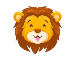 Cute Happy Lion Face Emoticon Emoji Expression Illustration