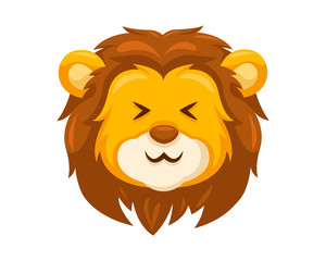Cute Laughing Lion Face Emoticon Emoji Expression Illustration
