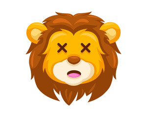 Cute Embarrassed Lion Face Emoticon Emoji Expression Illustration