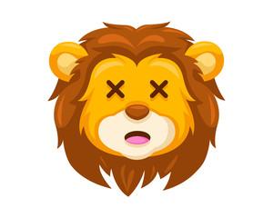 Cute Embarrassed Lion Face Emoticon Emoji Expression Illustration
