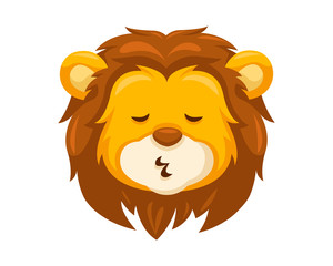 Cute Whistling Lion Face Emoticon Emoji Expression Illustration