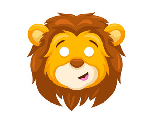 Cute Surprised Lion Face Emoticon Emoji Expression Illustration