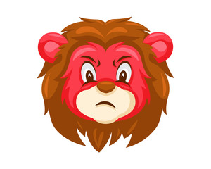 Cute Angry Lion Face Emoticon Emoji Expression Illustration