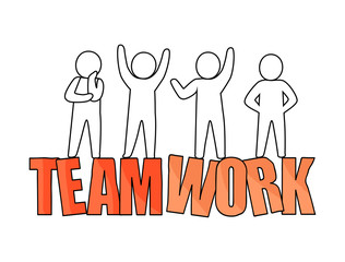 Teamwork and People Silhouette Vector Illustration