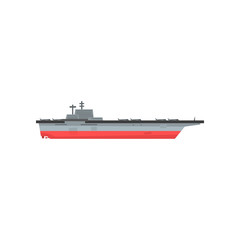 Icon of aircraft carrier with airplanes. Waterborne military vessels. Naval aviation. Flat vector element for website, mobile game or infographic