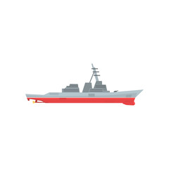 Navy battleship icon. Military ship with large-caliber artillery. Colored marine vehicle. Graphic design for sticker, poster, website, mobile game. Flat vector illustration