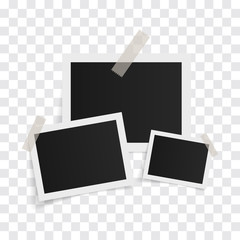 Wall Mural - Rectangle photo frames on sticky tape on a transparent background. Vector illustration.