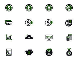 currency exchange simple vector icons in two colors