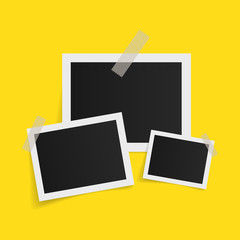 Wall Mural - Rectangle photo frames on sticky tape on yellow background. Vector illustration.