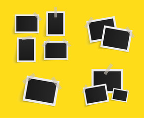 Set of rectangle vector photo frames on sticky tape on yellow background. Template photo design. Vector illustration