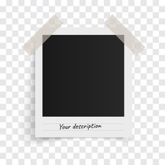 Polaroid photo frame template with shadows on sticky tape on a transparent background. Vector illustration.